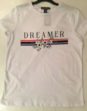 Primark white Dreamer T Shirt Size 4 BNWT Gucci Inspired White Logo T Shirt