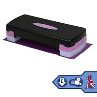 2 Level Adjustable Yoga Fitness Step Purple with Mat & Gym Exercise Chart Guide