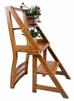 Folding Library Step Ladder Chair 2 in 1 For Office Kitchen Home Use Bamboo
