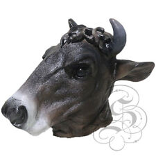 NEW! Latex Animal Realistic Black Cow Cosplay Fancy Dress Carnival Props Mask