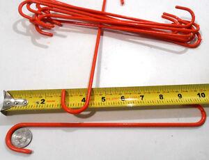 """S HOOK LOT OF (10) S HOOK TEN 10"""" INCH RED STEEL S-HOOKS PVC COATED PLANT HANGER"""