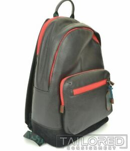 NEW - COACH West Black Pebble Leather Colorblock Red Trim Logo Backpack 89948