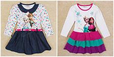 Disney Frozen Dress Girls Party Dress Elsa Anna Long Sleeve Dress 18months -6Y