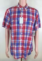 New Mens Nautica Plaid Check Cardinal Red Short Sleeve Button Up Shirt Large L
