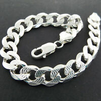 "Bracelet Bangle 925 Sterling Silver Mens Italian Solid Curb Link 8"" Hallmarked"