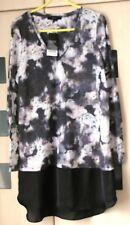 Next  Black Grey & Pink Floral Layered Tunic Top Size 18. Linen Mix. BNWT £22
