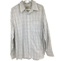 Eddie Bauer Mens L Large White Plaid Button Down Shirt Wrinkle Resistant