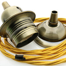 Antique Brass Finish E27 Ceiling Pendant Kit with 3Core Twisted Flex in Gold