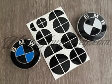 BLACK GLOSS BMW HALF Badge Emblem Overlay Sticker HOOD RIMS FITS ALL BMW