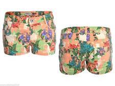 Kurze geblümte Damen-Shorts & -Bermudas im Freizeit-Stil mit mittlerer Bundhöhe
