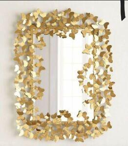 Metal Rectangle Big Gold Foil Butterfly Vintage Greek Wall Art Deco Gubi Mirror