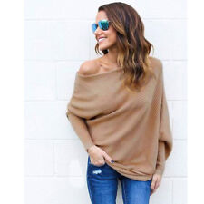 Oversize Women Off Shoulder Batwing Sleeve Knit Sweater Tops Pullover Outwear US