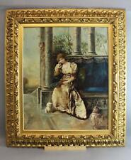 Antique Alfred Charles Conrade Portrait Oil Painting Victorian Woman, Dog & Fan
