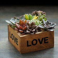 NEW 1X Wood LOVE Plant Pots Indoor Outdoor Garden Flower Tall Planter Square Pot