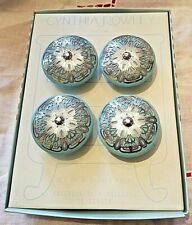 "Cynthia Rowley Drawer Pulls Knobs Round 1.5"" Ceramic Blue Turquoise Silver FOUR"