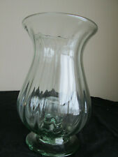 Elegant Large Ribbed Light Green Glass Hurricane Tapper Candle Holder / Vase 10""