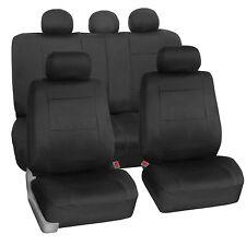 Neoprene Solid Black 2 Row Set Auto Car SUV Seat Covers Air Bag Safe Split Bench