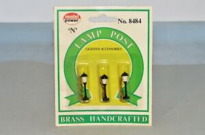 N Scale Model Power No. 8484 Brass Lamp Post 3-Pack New Unopened