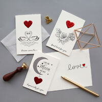 New Gold Embossed Wedding Valentine Anniversary Party Greeting Cards Invitations