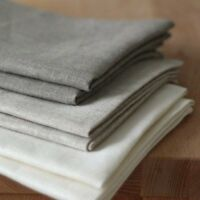 Set of 3 dense linen tea-towels White  Grey