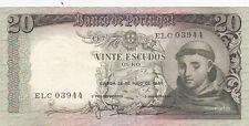 BILLET BANQUE PORTUGAL 20 ESCUDOS 1964 SANTO ANTONIO état voir scan 944