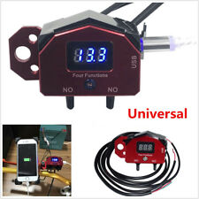 Motorcycle Handlebar Control ON-OFF Switch USB Charger w/ LED Voltage Displayer
