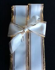 3 METRES CHRISTMAS WINTER WHITE WIRED RIBBON. BOWS, GIFTS, DECORATION CRAFTS 4cm