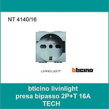 BTICINO LIGHT TECH PRESA SCHUKO BIPASSO 250 V 16A NT4140/16