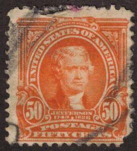 US Stamp Scott # 310 Orange 50cent Jefferson - Used