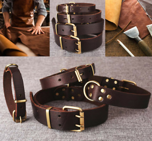 Superior Dog Collars Real Genuine Cowhide Leather Brass Fittings Mr Dog Brand