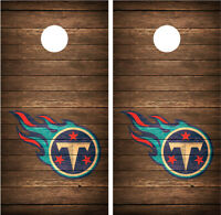 Tennessee Titans Vintage Wood Distressed Cornhole Board Decal Wrap Wraps (brown)