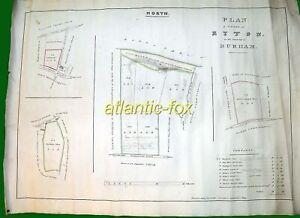 1832 Original Survey Plan of Lands in RYTON, Durham, Thomas Bell famous Surveyor