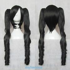 Vocaloid Miku Hatsune Magnet Curly Black Cosplay  Wig+2 Ponytails