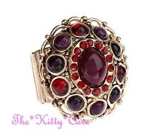Large Bold Deco Baroque Regency Red Purples Vintage Gold Cocktail Statement Ring