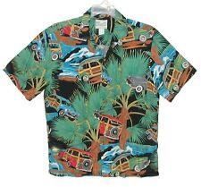 Sz S Vintage 1990's Diamond Head Men's Hawaiian Aloha Shirt Woodies & Palm Trees
