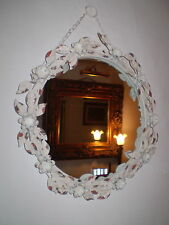 FRENCH VINTAGE CHIC METAL ROSES OVAL MIRROR
