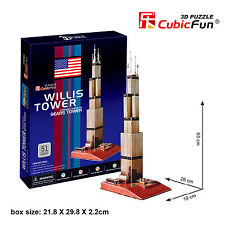 New Willis Tower USA 3D Model Jigsaw Puzzle 51 Pieces C083H