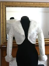 UK IVORY Wedding Prom Faux Fur Wrap Jacket Stole Shawl / Bolero Size 8-12 M MA04