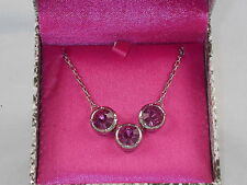 Jessica Simpson Silvertone Holiday Gifting Boxed Pink 3 Stone Necklace $38