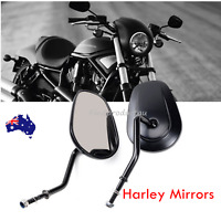 2x Black Rear view Mirrors For Harley Davidson FLSTC FXDB DYNA FXDF FLSTF