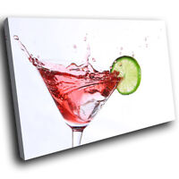 ZAB132 Cocktail Splash Red Modern Canvas Abstract Home Wall Art Picture Prints