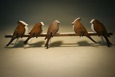 Handmade wooden wall mount coat rack Birds with 5 hooks in 5 different colors