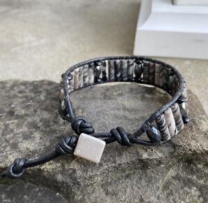 Men's  Spiderweb Jasper Beaded Black Leather Bracelet
