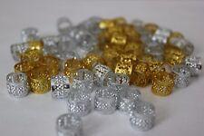 48PCs Hair Dreadlocks Bead Cuff Clip.Decoration Filigree Tube Gold&Silver 10 MM