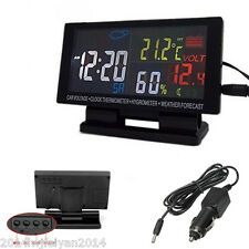 12V Led Digital Clock Car °C/°F Thermometer Hygrometer Voltage Weather Forecast