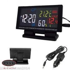 12V Led Digital Clock Car °C/°F Thermometer Hygrometer Voltage Weather Forecast