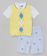Boys GOOD LAD yellow blue outfit 4 5 6 7 NWT seersucker shorts vest Easter suit