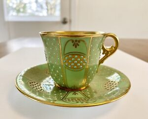 ANTIQUE COALPORT JEWELED GREEN/TURQUOISE/GOLD DEMITASSE CUP & SAUCER SET