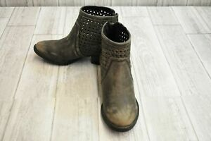 Very Volatile Namaste Distressed Leather Booties, Women's Size 6, Charcoal