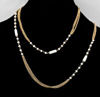 """Vintage Gold tone Chains & White Glass Beads Necklace Estate Jewelry 46"""""""